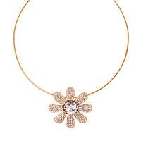 Колье Цветок, Цинковый сплав + Стекло + Страз, Ожерелья, Цвет: золото, 43.5 см