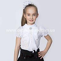 "Блузка школьная ""Гипюр"" короткий рукав,122р"