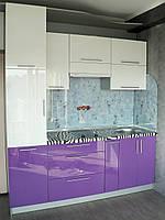 Кухня белая, фиолетовая, прямая, глянец, столешница Зебра, радиусный фасад