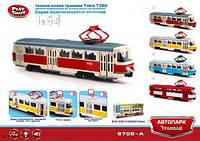 """Трамвай старый красный металл 6411A (96шт/4) """"АВТОПРОМ"""" , в кор. 19,5*5*8см"""