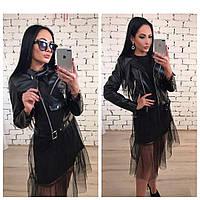 Женская стильная кожаная куртка на подкладке, фото 1