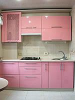 Кухня маленькая 1,80см, прямая, розовая, глянец
