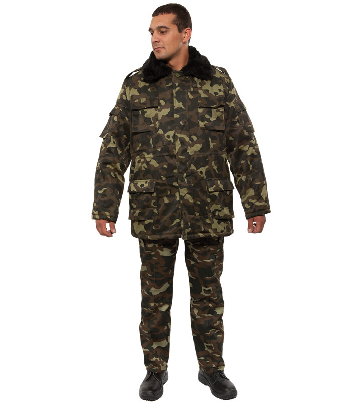 Куртка (бушлат) утепленная ОТ ватин камуфляж Лес (Дубок) Украина мехворот