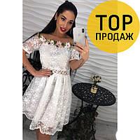 Женское платье белое, гипюровое, праздничное / Платье стильное, свободное, с аппликацией, до колена, 2018