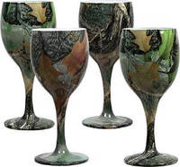 Набор бокалов Riversedge для вина Camo Wine Glasses листья, 4 шт., 235 мл