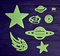 Набор люминофорных пластиковых интерьерных наклеек, 7 предметов
