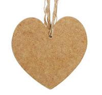 Панно Сердце широкое, МДФ 12,5x11см