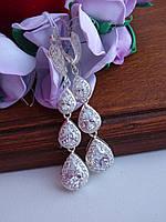 Шикарные серебряные серьги, фото 1