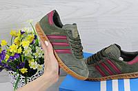 Замшевые женские кроссовки Adidas Hamburg, темно-зеленые
