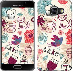 "Чехол на Samsung Galaxy A3 (2016) A310F Птички котики и тортик ""2914c-159-328"""
