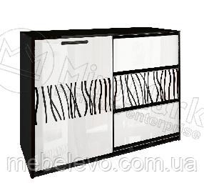Терра Комод 1Д 3Ш 860х1120х450мм белый глянец + черный мат   Миро-Марк