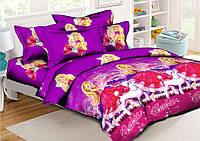 Детский комплект постельного белья полуторного Барби 150х220 см хлопок TM KRISPOL