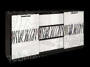 Терра Комод 2Д 3Ш 860х1640х450мм белый глянец + черный мат   Миро-Марк