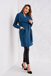 Женское класическое пальто весна осень цвет синий размер 42 44 46