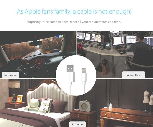 Кабель Lightning Orico LTG-10 для зарядки и передачи данных iPhone/iPad/iPod (Белый, 1м)