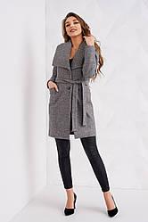 Женское класическое пальто весна осень цвет серый размер 40 42 44 46