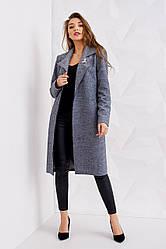 Женское класическое пальто весна осень цвет темно-серый размер 40 42 44 46