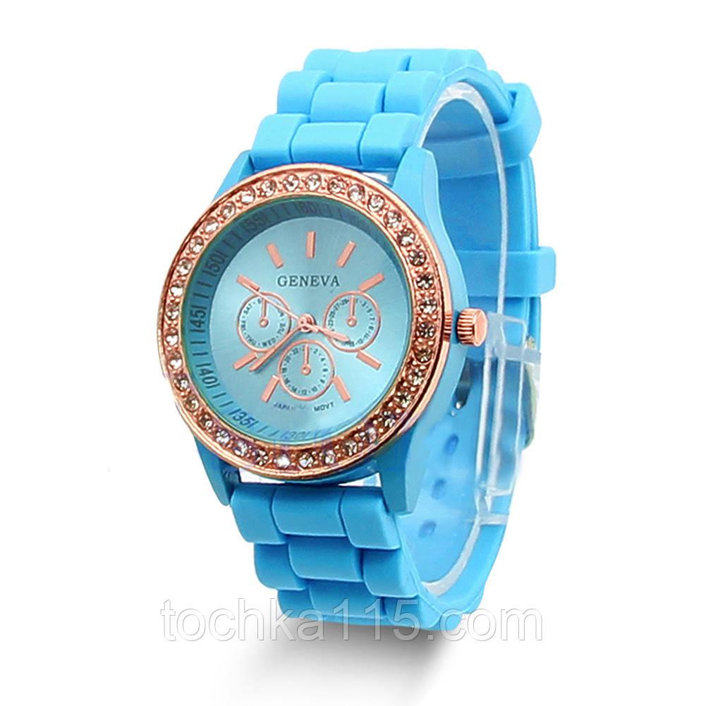 Часы женские Geneva Crysta голубой реплика