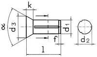 Заклепка DIN 1477 — заклепка с насечкой с потайной головкой.