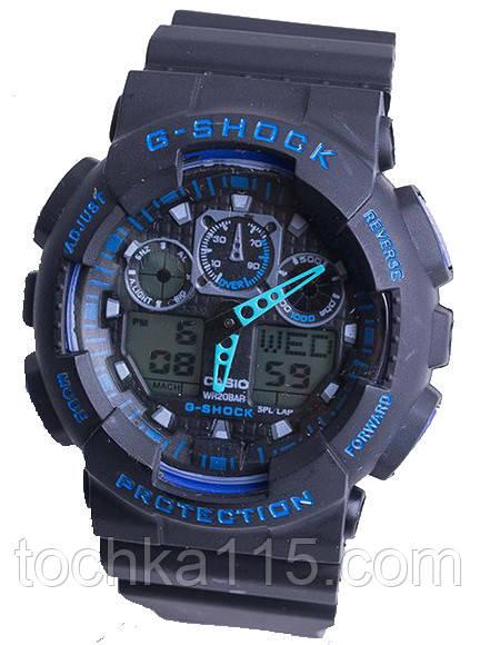 Casio g-shock ga-100 черный/синий реплика