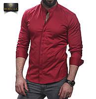 Рубашка мужская приталенная бордовая, фото 1