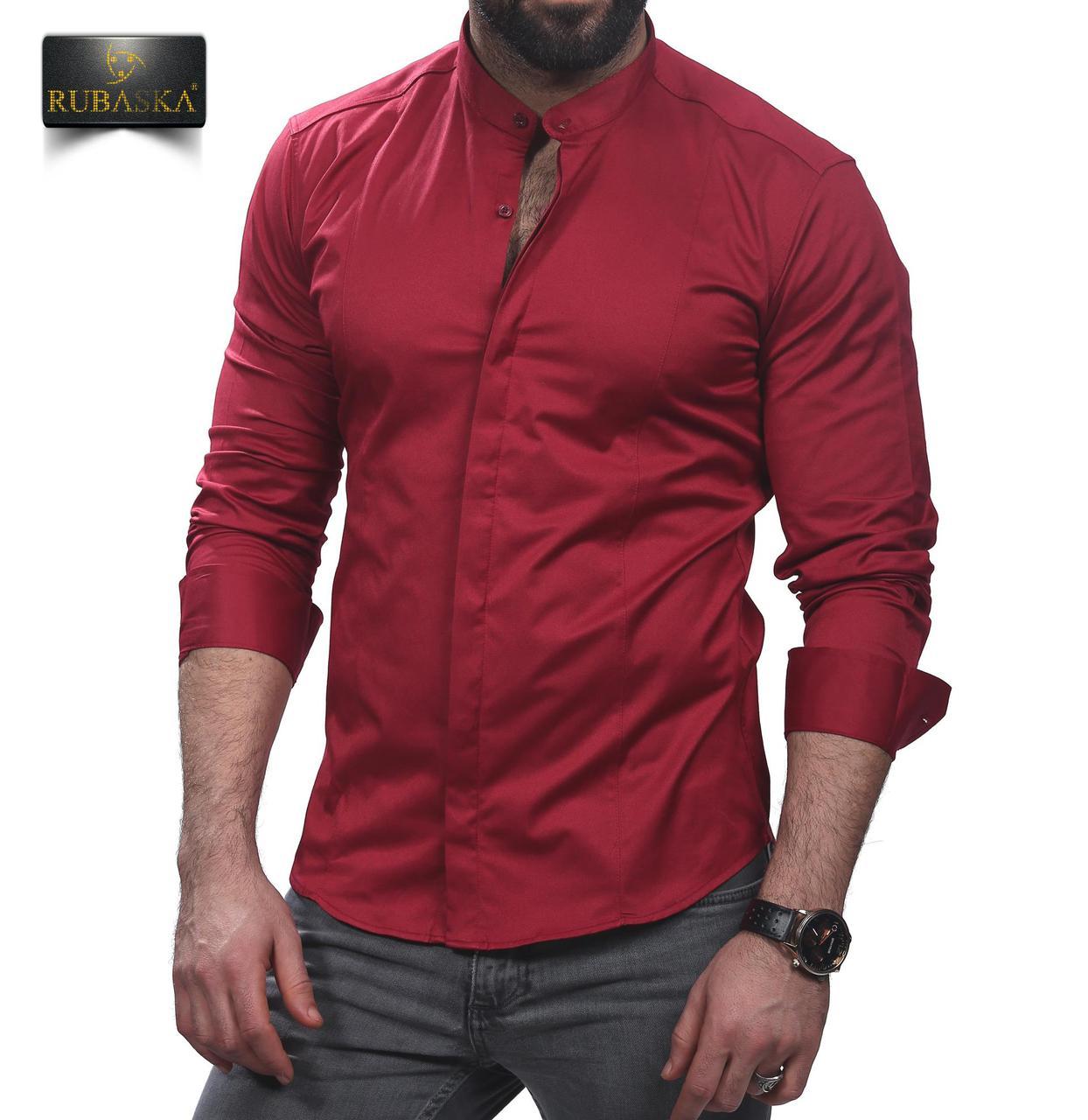 ff7098bd60d Рубашка мужская приталенная бордовая  продажа