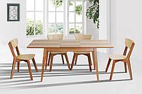 Комплект обеденный стол Рондо+ 4 стула деревянный раскладной Рондо в стиле Лофт ясень+орех