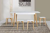 Комплект обеденный деревянный раскладной  стол + 4 табурета Сингл белый/дуб