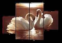 Модульная картина Лебеди 126*85 см