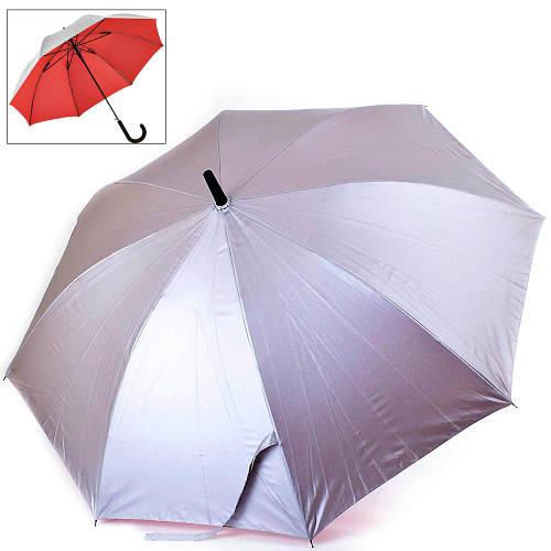 Женский зонт-трость полуавтомат двусторонний FARE (ФАРЕ) FARE7119-silver-red