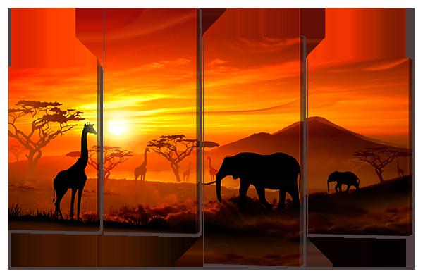 Модульная картина Слоны в Африке