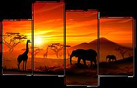 Модульная картина Слоны в Африке Нетканый материал, 94х61