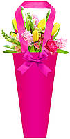 Бумажная сумка для букетов и горшечных цветов малиновая