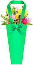 Паперова сумка для букетів і горшкових квітів зелена