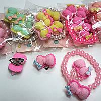 Набор Детский,Для девочек/Мин.заказ 10шт/В уп.10шт/Браслет+Кольцо+Клипсы.
