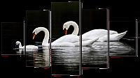 "Модульная картина ""Лебеди"" 142*80см"