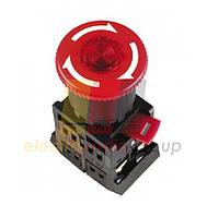 """Кнопка ANE-22 """"Грибок""""с фіксацією червона d22мм неон/240В 1з+1р"""