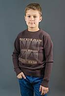 Молодежный коричневый свитер Many&Many с принтом, фото 1