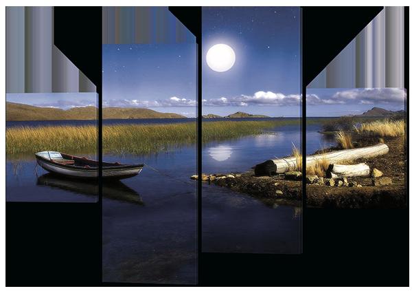 Модульная картина Озеро и лодка