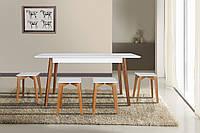 Комплект обеденный деревянный раскладной  стол + 4 табурета Сингл белый/орех