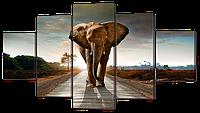 "Модульная картина ""Слон на дороге"""
