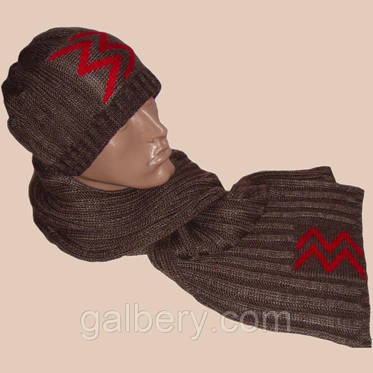 """Вязаная мужская шапка и шарф с аппликацией """"красные молнии"""""""