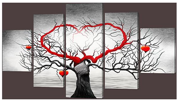 """Модульная картина """"Дерево с сердцем"""""""