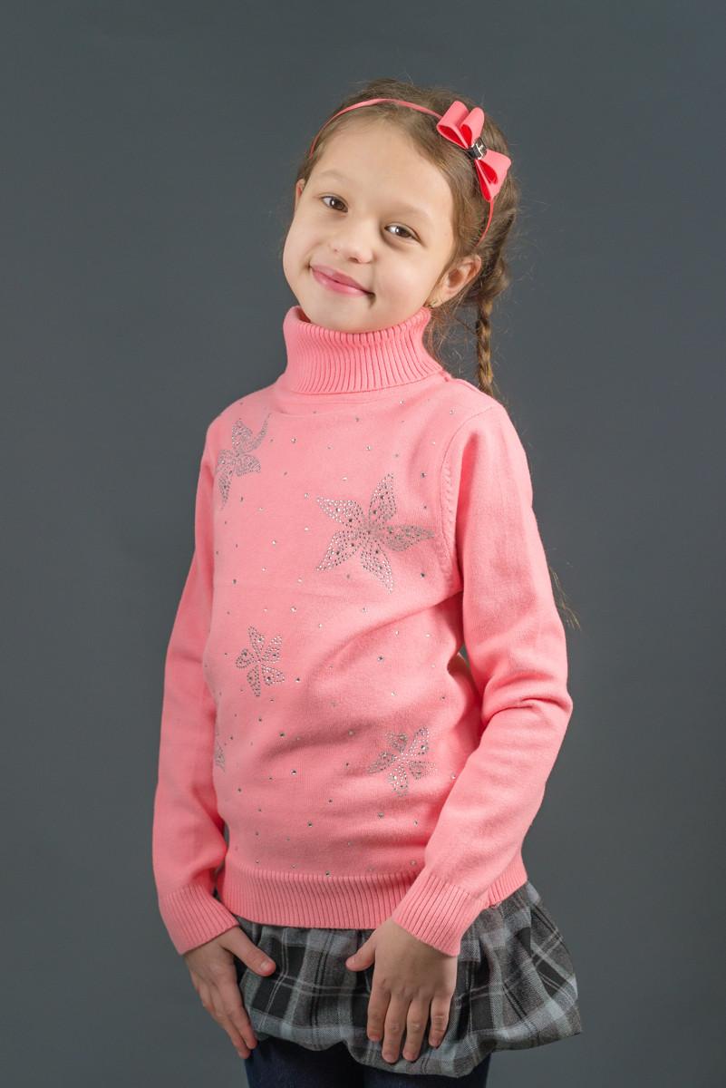 """Свитер """"Гольф"""" Many&Many для девочки, цвет лососевый, Цветы."""