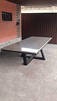 Металлический стол со столешницей для веранды