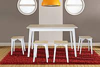 Комплект обеденный деревянный раскладной  стол + 4 табурета Сингл дуб/белый