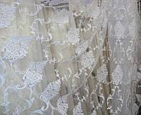 """Тюль с вышивкой в зал, спальню, гостиную белая фатин """"Миранда"""", фото 1"""