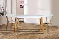Комплект обеденный деревянный раскладной  стол + 4 стула Сингл белый/дуб