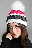 Молодёжная женская шапка с помпоном из натурального меха, фото 1