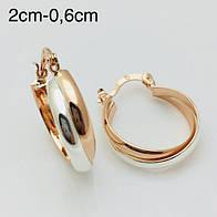 Серьги кольца Fallon родий+ позолота 18К